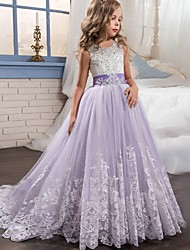 cheap -Kids Little Girls' Dress Princess Formal Evening Wedding Party Pageant Flower Embroidery Bow White Purple Red Lace Tulle Maxi Sleeveless Elegant Vintage Ball Gown Dresses 4-13 Years