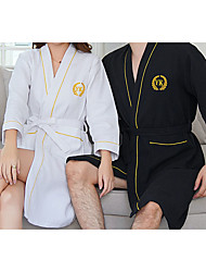 cheap -Superior Quality Bath Robe, Black/White Couple Long 100% Cotton Water Absorbing Bathrobe Quick Drying Bath Towel