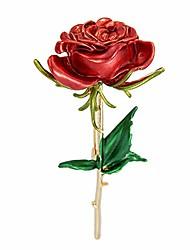 cheap -luluping rose flower brooch pin – enamel rose floral brooch pin (red rose flower brooch pin)