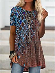 cheap -2021 amazon aliexpress spring new foreign trade cross-border fashion women's short-sleeved digital printing t桖9106