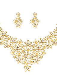cheap -Women's Jewelry Set Bridal Jewelry Sets 3D Flower Precious Fashion Gold Plated Earrings Jewelry Gold For Christmas Wedding Party Evening Gift Formal 1 set