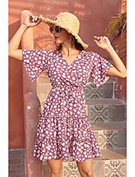 baratos -Yoaresweet mulheres verão mini vestido curto de praia com babados em camadas com estampa floral vestido de férias de manga curta