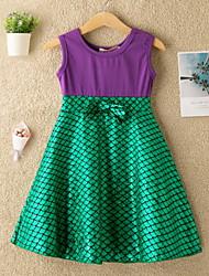 cheap -Kids Little Girls' Dress Color Block Bow Print Yellow Green Knee-length Sleeveless Active Dresses Summer Regular Fit 5-12 Years
