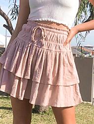 cheap -Women's Date Weekend Basic Streetwear Skirts Solid Colored Layered Ruffle Blushing Pink