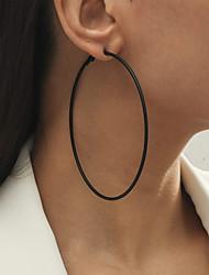 cheap -Women's Hoop Earrings Earrings Circle Simple Fashion European Earrings Jewelry Black For Street Vacation 1 Pair