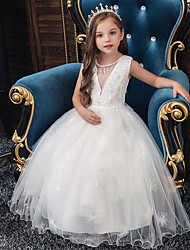 cheap -Princess Floor Length Event / Party / Formal Evening Flower Girl Dresses - Satin / Polyester Sleeveless Jewel Neck with Sash / Ribbon / Bow(s) / Beading