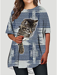 cheap -Women's Plus Size Cat Graphic Animal Print Basic Half Sleeve Fall Short Mini Dress T Shirt Dress Tee Dress Blue Royal Blue