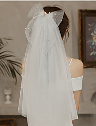 cheap -Two-tier Cute Wedding Veil Shoulder Veils with Trim Tulle