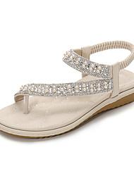 cheap -Women's Sandals Flat Heel PU Rhinestone Beading Almond White Black