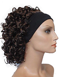 cheap -Short Super Curly Dark Brown Silky Soft Headband Wig Synthetic Hair Wigs