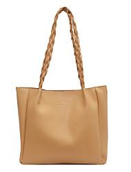 cheap -Women's Bags PU Leather Tote Top Handle Bag Daily Date 2021 Handbags White Black Yellow Khaki