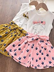 cheap -Kids Girls' Clothing Set 2 Piece Sleeveless Blushing Pink Brown Print Print Daily Wear Active Regular