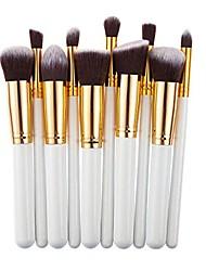 cheap -professional salon cosmetics makeup foundadtion blending brushes set 10 pcs (platinum)