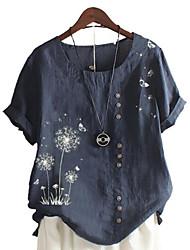 cheap -Women's Plus Size Floral Graphic T shirt Large Size Round Neck Short Sleeve Tops 3XL 4XL 5XL Big Size