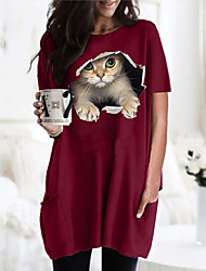 cheap -Women's 3D Cat T shirt Dress Cat Graphic Round Neck Tops Basic Basic Top Black Wine Army Green