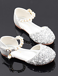 cheap -Girls' Flats Flower Girl Shoes Princess Shoes School Shoes Rubber PU Little Kids(4-7ys) Big Kids(7years +) Daily Party & Evening Walking Shoes Rhinestone Sparkling Glitter Buckle Pink Gold Silver