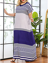 cheap -Women's Plus Size Striped Print Casual Short Sleeve Spring & Summer Maxi long Dress Shift Dress Blue