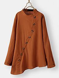 cheap -Women's Plus Size Tops Blouse Shirt Plain Irregular Hem Long Sleeve Spring Summer Green Orange Big Size L XL 2XL 3XL 4XL