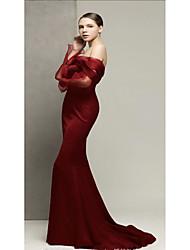 economico -il nuovo prodotto monospalla vino rosso temperamento gonna abito è sottile, abito da sposa brindisi cucitura maniche a rete abito da sera alla moda