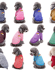 cheap -Dog Cat Coat Sweatshirt Dog clothes Rainbow Princess Simple Style Sweet Sports Casual / Daily Winter Dog Clothes Puppy Clothes Dog Outfits Warm 1 Purple Red Costume for Girl and Boy Dog Polyester