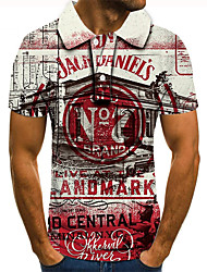 cheap -Men's Polo 3D Print Graphic Prints Building Button-Down Short Sleeve Street Tops Casual Fashion Cool Red