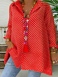 cheap -Women's Plus Size Blouse Shirt Polka Dot Long Sleeve Shirt Collar Tops Loose Basic Top Blue Red Yellow