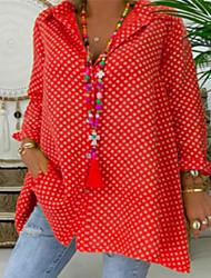 cheap -Women's Plus Size Blouse Shirt Polka Dot Long Sleeve Shirt Collar Tops Loose Basic Top Blue Red Yellow