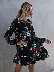 cheap -foreign trade amazon new product neckline cross tie puff sleeve printed ruffle cross-border autumn and winter dress female