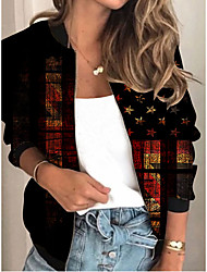 cheap -Women's Jackets Flag Print Sporty Spring Jacket Regular Daily Long Sleeve Air Layer Fabric Coat Tops Black