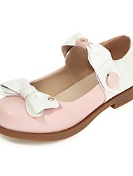 cheap -Girls' Flats Flower Girl Shoes Princess Shoes PU Mary Jane Big Kids(7years +) Daily Party & Evening Bowknot Buckle Black Pink Spring Summer / Color Block