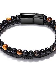 cheap -volcanic stone bracelet, real cowhide hand-woven mixed color natural  men's bracelet