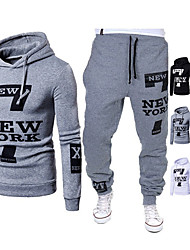 cheap -Men's 2 Piece Tracksuit Sweatsuit Street Athleisure 2pcs Long Sleeve Cotton Thermal Warm Moisture Wicking Soft Fitness Gym Workout Running Jogging Training Sportswear Hoodie White Black Grey