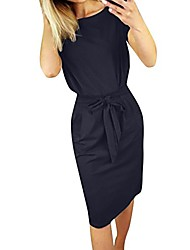 cheap -summer dresses for women v neck backless sleeveless waist strappy solid color casual mini dress (l, navy)