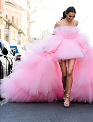 cheap -Ball Gown Luxurious Elegant Engagement Formal Evening Dress Strapless Sleeveless Chapel Train Tulle with Tier 2021