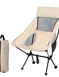 cheap -Camping Chair with Side Pocket Portable Ultra Light (UL) Multifunctional Foldable Alloy for 1 person Fishing Beach Camping Autumn / Fall Winter Black Grey Khaki / Breathable / Comfortable
