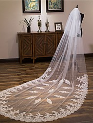 cheap -One-tier Cute Wedding Veil Chapel Veils with Appliques Lace / Tulle