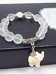 cheap -Women's Bead Bracelet Beads Elephant Stylish Elegant Stone Bracelet Jewelry White For Festival