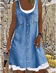 cheap -Women's Shift Dress Sleeveless Pattern Spring Summer Casual / Daily 2021 S M L XL XXL XXXL