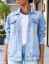 cheap -europe and america independent station aliexpress amazon wsh letter print loose denim girl mid-length jacket