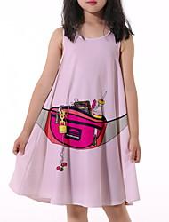 cheap -Kids Little Girls' Dress Graphic Print Blushing Pink Knee-length Sleeveless Flower Active Dresses Summer Regular Fit 5-12 Years