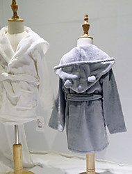 cheap -Flannel Bathrobe for Baby,White/Grey Cute Soft Absorbent Home Wear