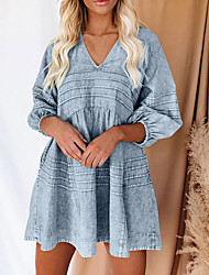 cheap -2021 cross-border spring european and american long-sleeved denim shirt loose v-neck stand-alone amazon blouse 7 points multicolor