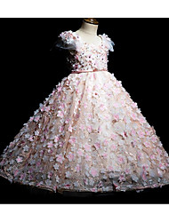 cheap -Princess / Ball Gown Floor Length Wedding / Party Flower Girl Dresses - Tulle Short Sleeve Jewel Neck with Bow(s) / Beading / Appliques