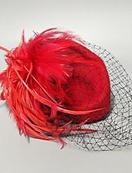 cheap -Feathers / Net Fascinators / Hats / Headpiece with Feather / Cap 1 PC Wedding / Horse Race Headpiece