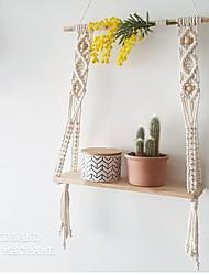 cheap -Nordic Hand-Woven Cotton Macrame Tapestries Rack Wooden Shelves Wall Decorative Shelves Wall Hanging Shelves Ornament 50*15*60cm