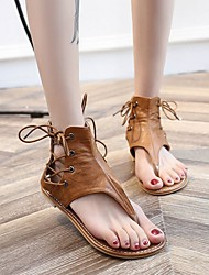 cheap -Women's Slippers & Flip-Flops Flat Heel Open Toe PU Solid Colored Black Yellow Brown