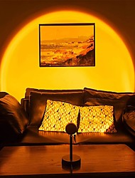 cheap -LED Sunset Projector Lamp Tiktok Lights USB Operation Rainbow Night Light Atmosphere Table Lamp Living Room Bedroom Coffee Store Background Wall Decoration Colorful Lights