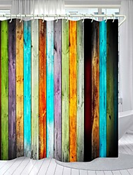 cheap -Colored Wooden Planks Digital Printing Shower Curtain Shower Curtains  Hooks Modern Polyester New Design