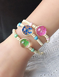 cheap -3pcs Women's Bracelet Loom Bracelet Crystal Bracelet Braided Flower Weave Holiday Trendy Korean Cute Sweet Glass Bracelet Jewelry Rainbow For Gift Prom Birthday Beach Festival