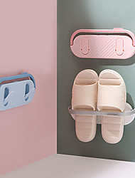 cheap -Bathroom Slippers Rack Wall Mounted Shoe Organizer Rack Folding Slippers Holder Shoes Hanger Self Adhesive Towel Racks Shelf